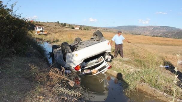 Suluca Mevkiinde olan kazada mucize eseri kurtuldu