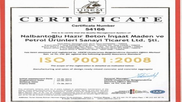 Nalbantoğlu Beton'a ISO VE OHSAS Belgesi Verildi
