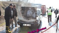 D-100' de seyir halindeki bir otomobil yangını korkulu anlar yaşattı