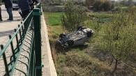 Kaza yapan otomobil dere yatağına düştü: 1 yaralı