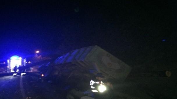 Tomruk yüklü kamyon devrildi: 1 ölü