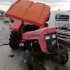 Tosya'da Trafik Kazasında Traktör İkiye Bölündü