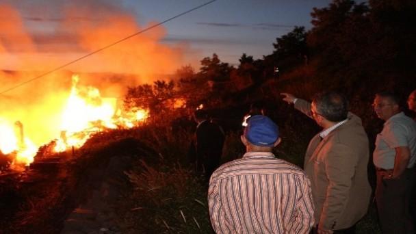 Kaymakam Pişkin, yangın çıkan köyde incelemede bulundu