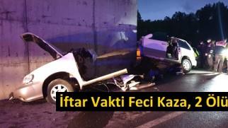 Tosya'da İftar Vakti Kaza, Lüks Jeep İkiye Ayrıldı