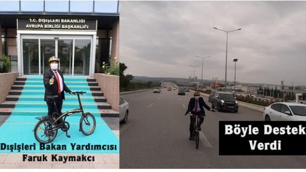 Dışişleri Bakan Yardımcısı Faruk Kaymakcı işe bisikletle gitti