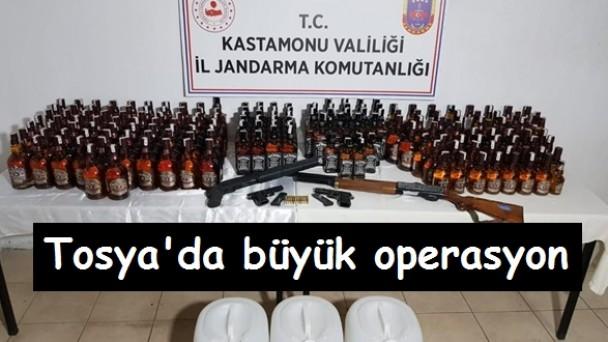 Tosya'da büyük kaçak içki operasyonu