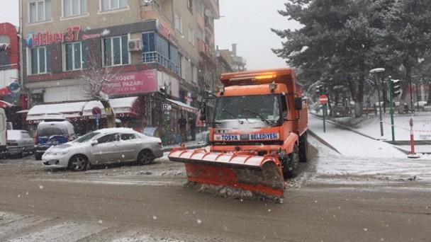 Tosya Belediyesi Karla Mücadelede Tam Gaz
