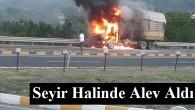 Tosya'da seyir halindeki kamyon yandı