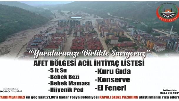Tosya Belediyesinden Afet Bölgesine Yardım Kampanyası